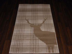 Modern Approx 5x3 80x150cm Woven Top Quality Stag-checks Creams/Berber Rugs/Mats